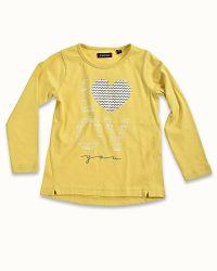 Blue Seven Dievčenské tričko so srdiečkom - žlté, 128 cm