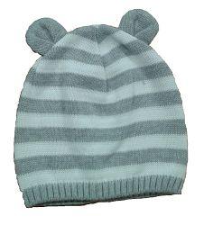 Broel Chlapčenská pruhovaná čiapka s uškami - šedo-biela, 49-51 cm