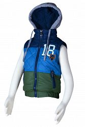 Bugga Chlapčenská prešívaná pruhovaná vesta s kapucňou - modrá, 128 cm