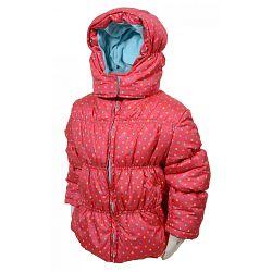 Bugga Dievčenské bodkovaná bunda Puffy - ružová, 122 cm