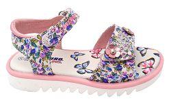 Canguro Dievčenské kvetované sandále s kamienkami - ružovo-biele, EUR 26
