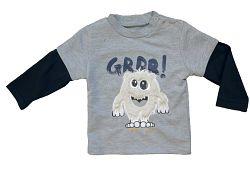 Carodel Chlapčenské tričko s príšerkou - šedé, 62 cm