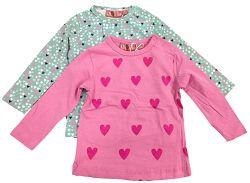 Carodel Dievčenská súprava 2 ks tričiek so srdiečkami - farebné, 62 cm