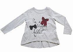 Carodel Dievčenské tričko s mašličkami - svetlo šedé, 92 cm
