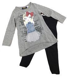 Carodel Dievčenský komplet trička a legín - farebný, 122 cm