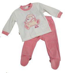 Carodel Dievčenský spací komplet s ovečkou - bielo-ružový, 68 cm