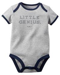 Carter's Chlapčenské body Little genius - sivé, 92 cm