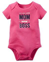 Carter's Dievčenské body Mum is the boss - ružové, 62 cm