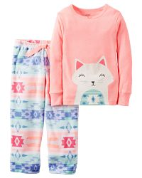 Carter's Dievčenské pyžamo s mačičkou - farebné, 92 cm