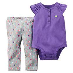 Carter's Dievčenské set so srdiečkami - fialovo-šedý, 80 cm
