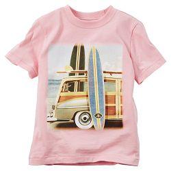 Carter's Dievčenské tričko so surferskou potlačou - ružové, 98 cm