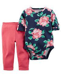 Carter's Dievčenský dojčenský komplet s kvetinami - farebný, 80 cm