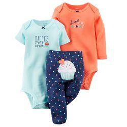 Carter's Dievčenský trojkomplet body a nohavice Cupcake - modro-oranžový, 68 cm