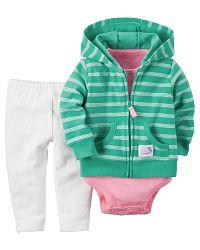 Carter's Dievčenský trojkomplet body, legíny a mikina - bielo-zeleno-ružový, 80 cm