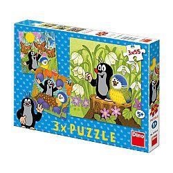 Dino Puzzle Krtko a vtáčik, 3x55 dielikov