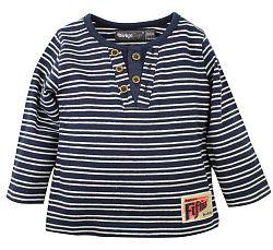 Dirkje Chlapčenské pruhované tričko s gombíkmi - modro-biele, 116 cm