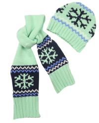 Dirkje Detský set čiapky a šály - zelený, 12-18 měsíců