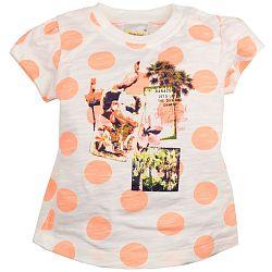 Dirkje Dievčenské bodkované tričko s potlačou - oranžovo-biele, 86 cm
