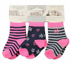 Dirkje Dievčenské prúžkované ponožky, 3páry - ružové, 6-12 měsíců