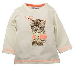 Dirkje Dievčenské tričko s mačičkou - bielo-oranžové, 86 cm
