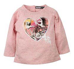 Dirkje Dievčenské tričko so srdiečkom - ružové, 98 cm