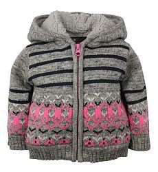 Dirkje Dievčenský sveter s prúžkami a vzorom - sivý, 98 cm