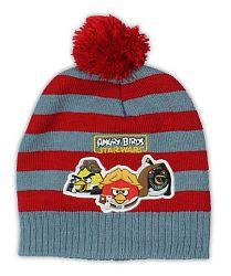 E plus M Chlapčenská prúžkovaná čiapka Angry Birds - šedo-červená