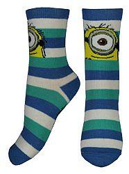 E plus M Chlapčenské pruhované ponožky Mimoni - modro-biele
