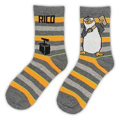 E plus M Chlapčenské pruhované ponožky Tučniaci z Madagaskaru - šedé
