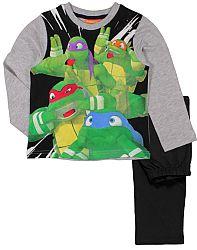 E plus M Chlapčenské pyžamo Korytnačky Ninja - šedo-čierne, 128 cm