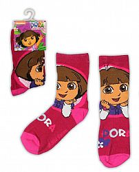E plus M Dievčenské ponožky Dora - tmavo ružové