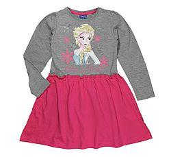 E plus M Dievčenské šaty Frozen - šedo-ružové, 128 cm