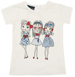 Escallante Dievčenské tričko s dievčatami - biele, 74 cm
