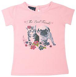Escallante Dievčenské tričko s mačiatkom a šteniatkom - svetlo ružové, 74 cm