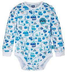 G-mini Chlapčenské body Autíčka - modro-biele, 80 cm