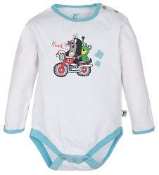 G-mini Chlapčenské body Krtko a motorka - biele, 92 cm