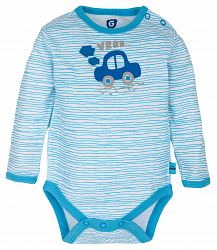 G-mini Chlapčenské prúžkované body Autíčka - modré, 92 cm