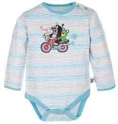 G-mini Chlapčenské prúžkované body Krtko a motorka - bielo-modré, 56 cm