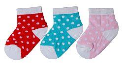 G-mini Dievčenská bodkovaná súprava ponožiek (0-6 mesiacov) - 3 páry - červené, modré a svetlo ružové