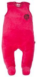 G-mini Dievčenské velúrové dupačky Lienka - ružové, 74 cm