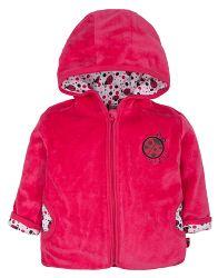 G-mini Dievčenský velúrový kabátik s kapucňou Lienka - ružový, 56 cm