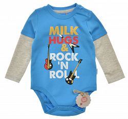 Garnamama Chlapčenské body Rock & Roll - modré, 80 cm