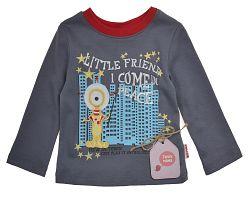 Garnamama Chlapčenské tričko s mestom - šedé, 80 cm
