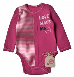 Garnamama Dievčenské body Love - ružové, 86 cm