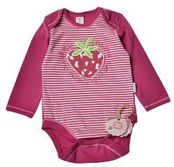 Garnamama Dievčenské body s jahodou - ružové, 74 cm