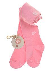 Garnamama Dievčenské pančucháče s kvietkami - ružové, 68-74 cm