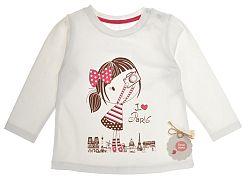 Garnamama Dievčenské tričko s dievčatkom - biele, 74 cm
