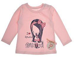 Garnamama Dievčenské tričko s dievčatkom - ružové, 74 cm
