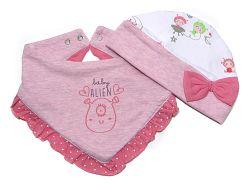 Gelati Dievčenská sada čiapočky a šatke - ružová, 74-80 cm