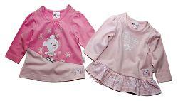 Gelati Dievčenská súprava 2 ks tričiek - ružová, 68 cm